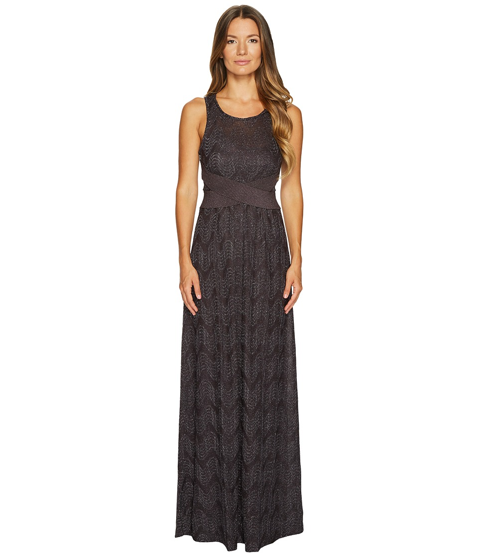 M Missoni Lurex Jersey Maxi Dress w/ Cross Front (Eggplant) Women