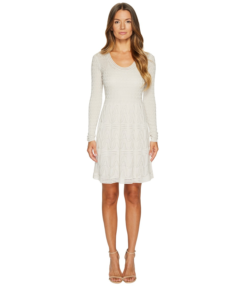 M Missoni Solid Knit Scoop Neck Long Sleeve Dress (Almond) Women