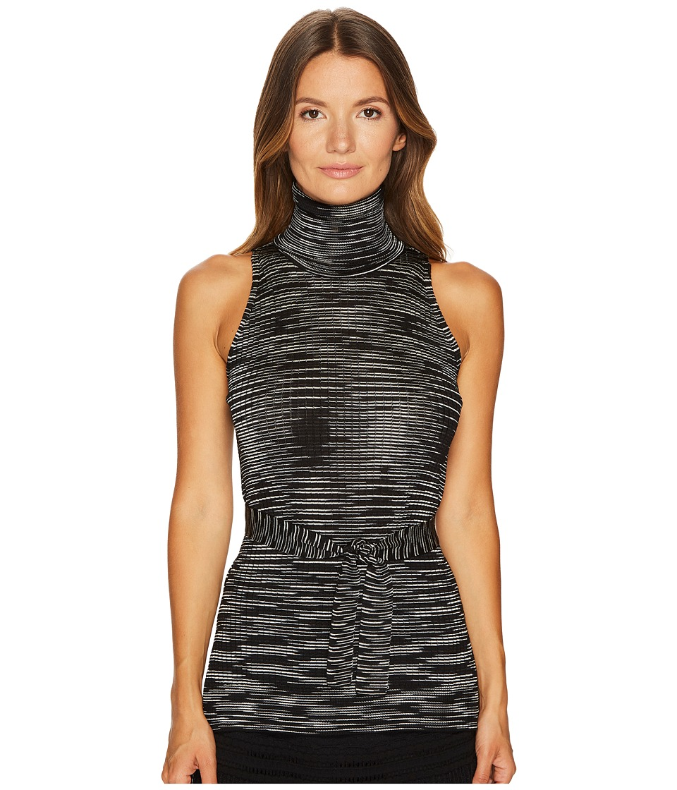 M Missoni - Spacedye Turtleneck Top w/ Tie (Black) Womens Clothing