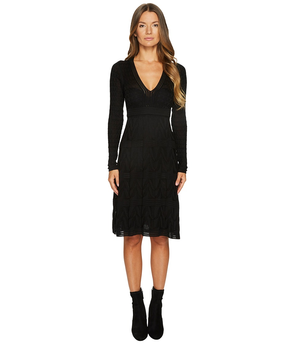 M Missoni Solid Knit V-Neck Dress (Black) Women