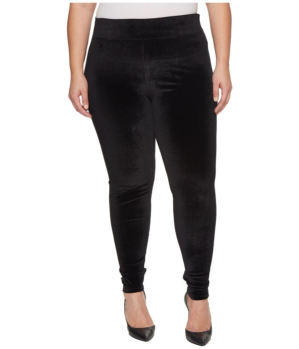 HUE Plus Size Wide Waistband Velvet Leggings (Black) Women
