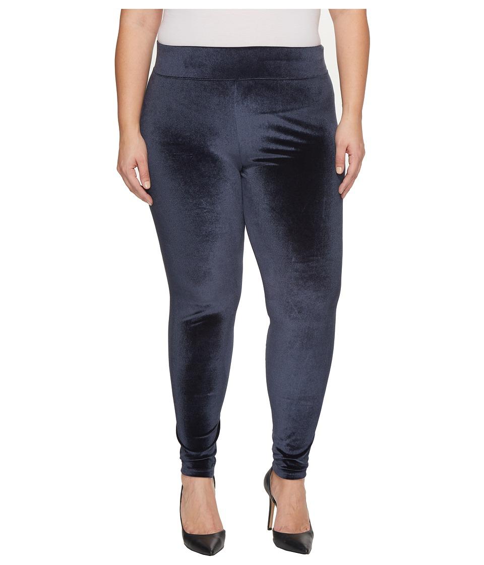 HUE Plus Size Wide Waistband Velvet Leggings (Slate Blue) Women