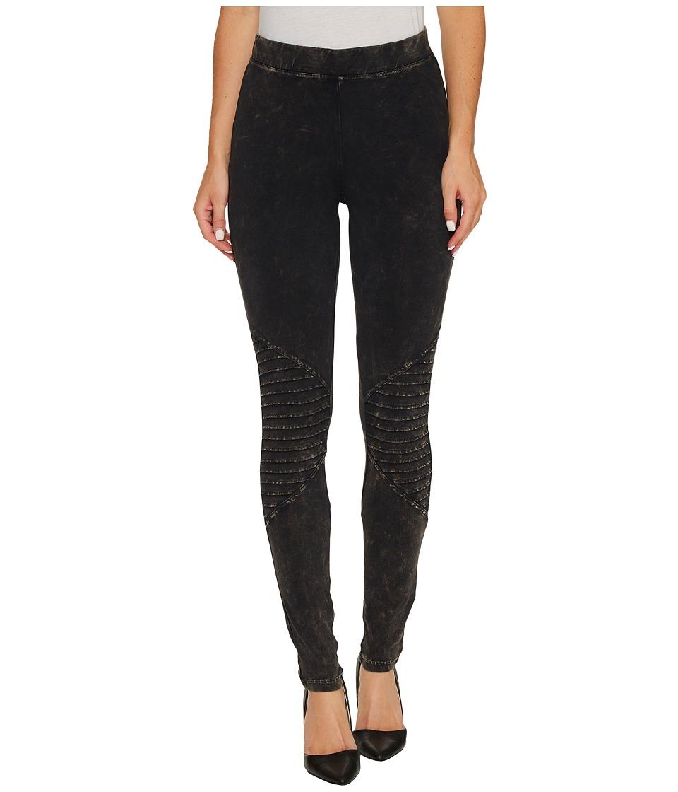 HUE Cotton Moto Leggings (Black Wash) Women