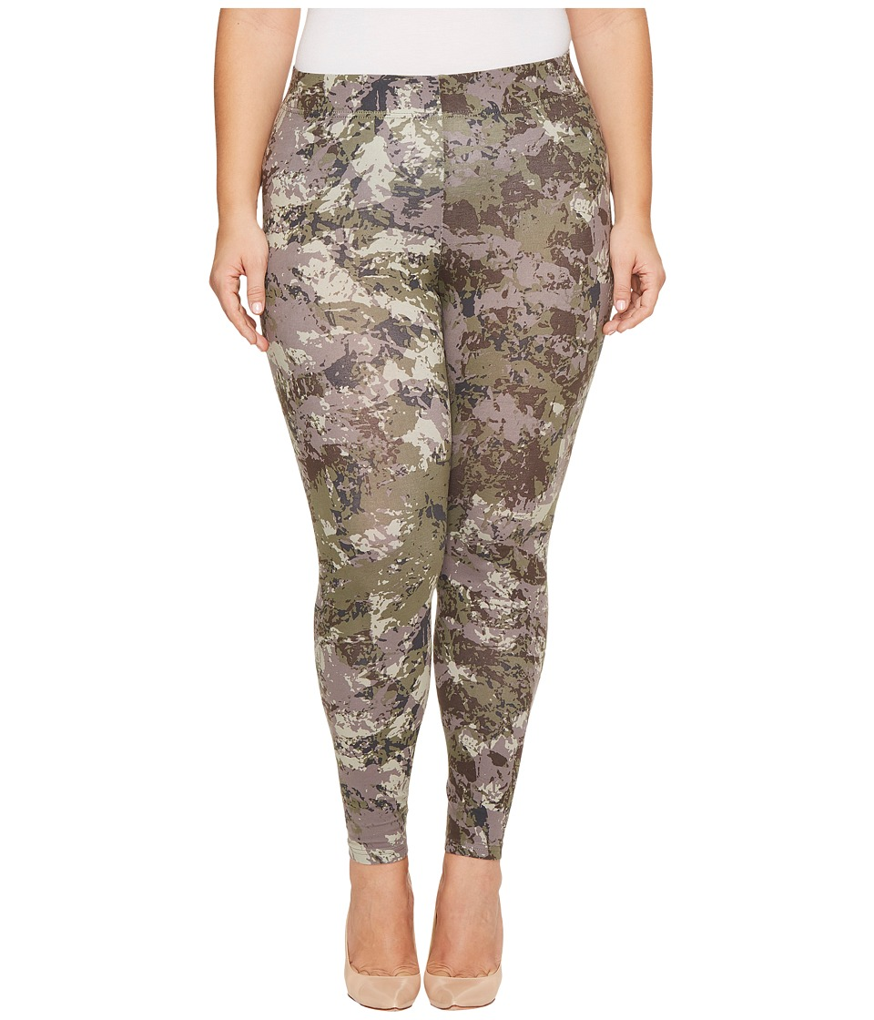 HUE Plus Size Camo Cotton Leggings (Green) Women