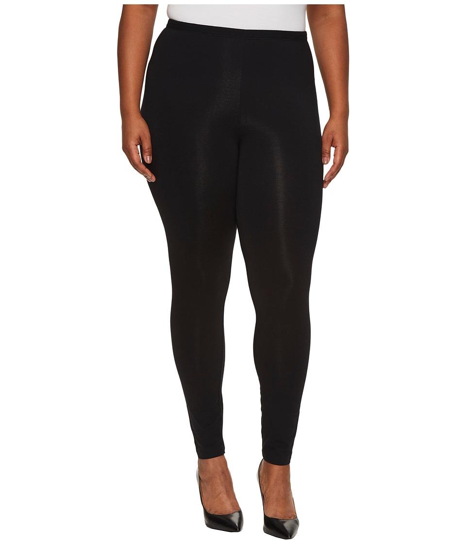 HUE Plus Size Pima Cotton Leggings (Black) Women