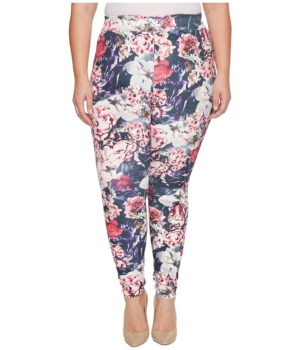 HUE Plus Size Gala Floral Velvet Leggings (Multi) Women