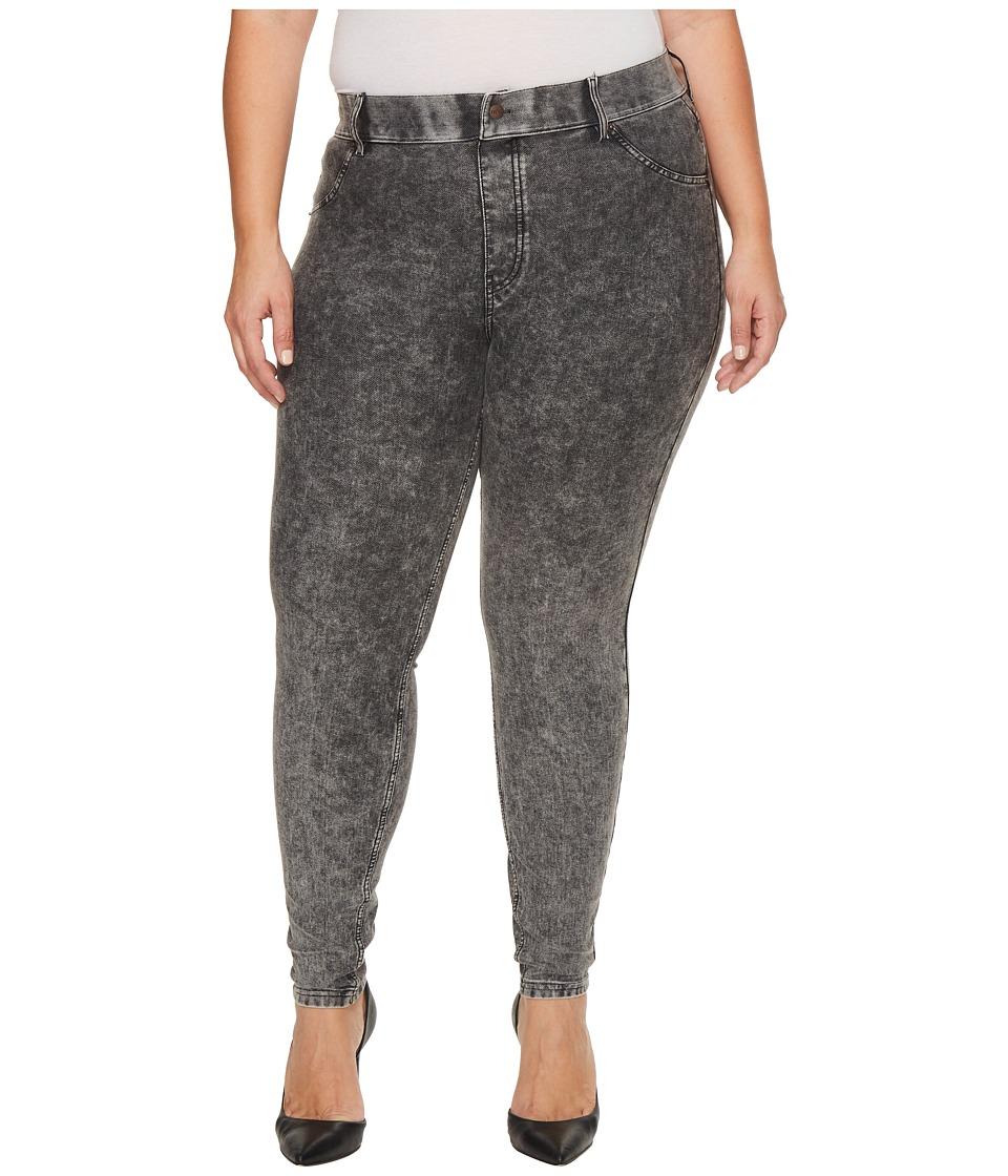 HUE Plus Size Essential Denim Leggings (Powdered Black Wash) Women