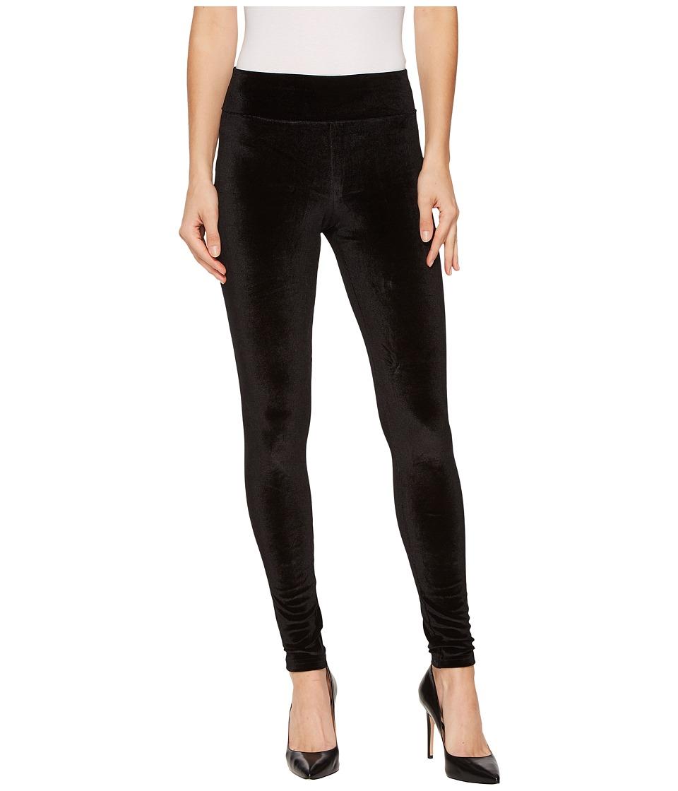 HUE Wide Waistband Velvet Leggings (Black) Women