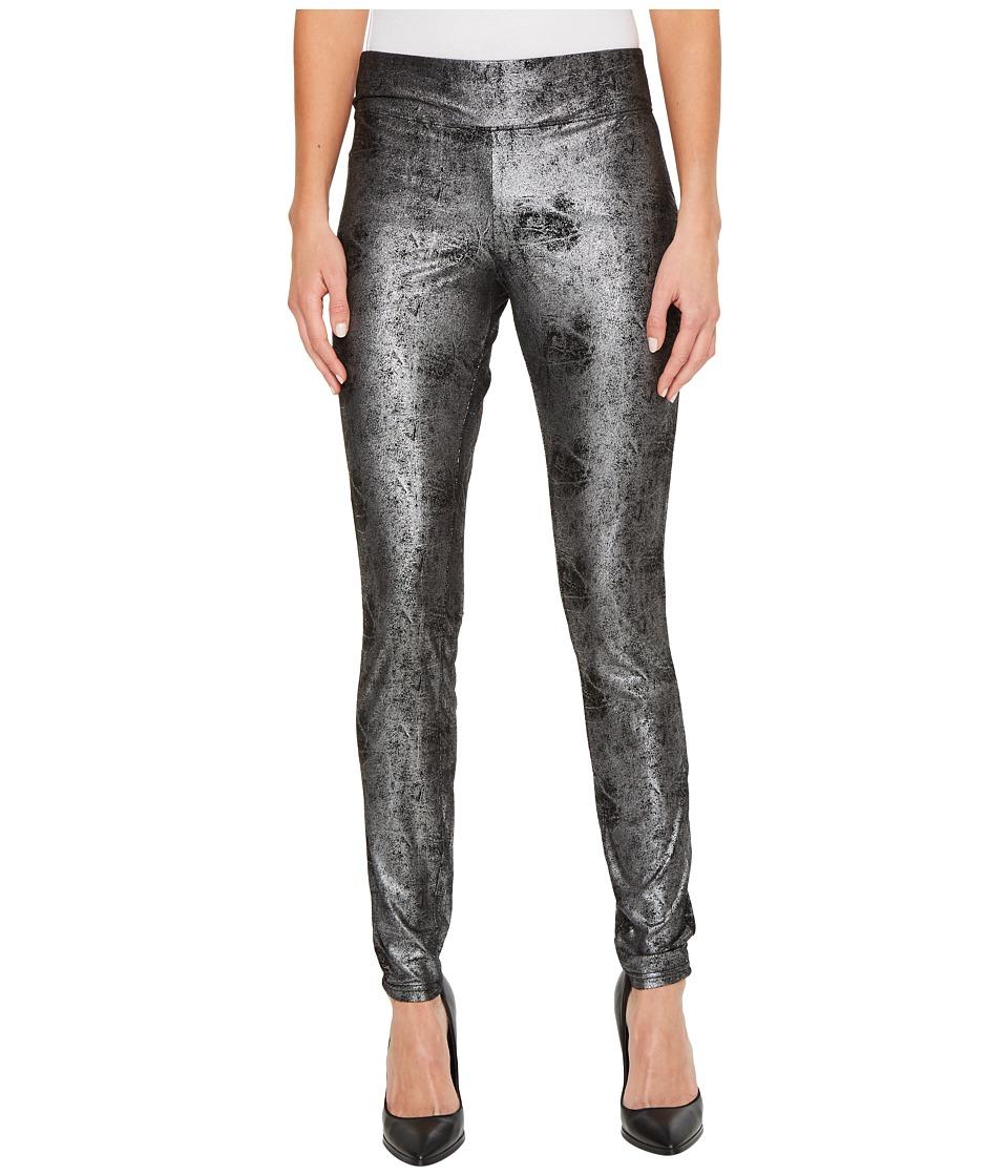 HUE Metallic Microsuede Leggings (Black) Women