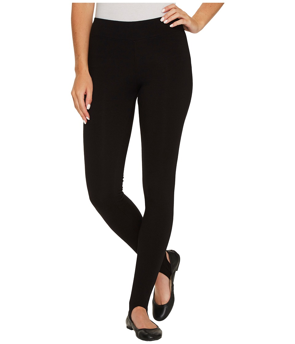 HUE Cotton Stirrup Leggings (Black) Women