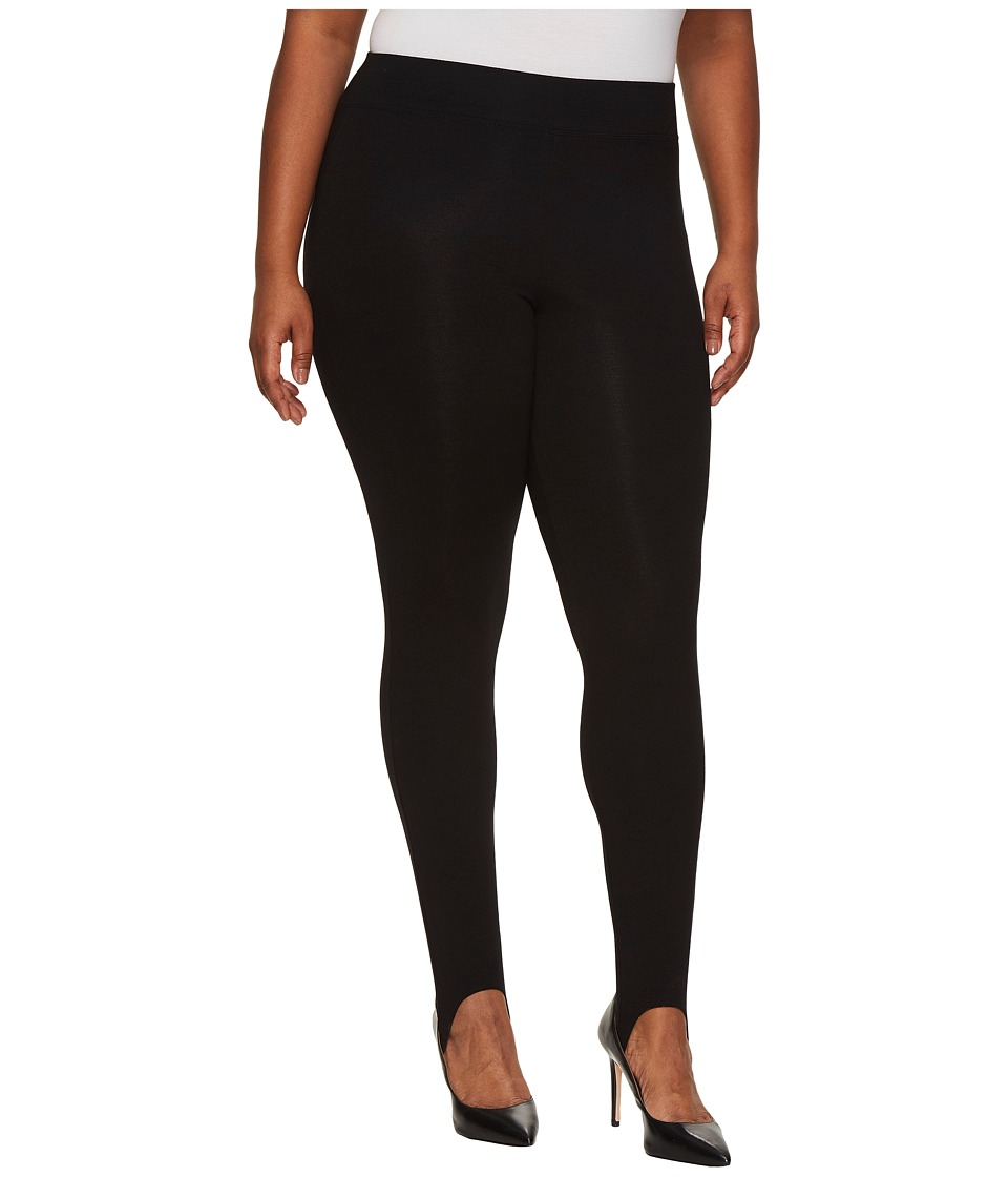 HUE Plus Size Cotton Stirrup Leggings (Black) Women