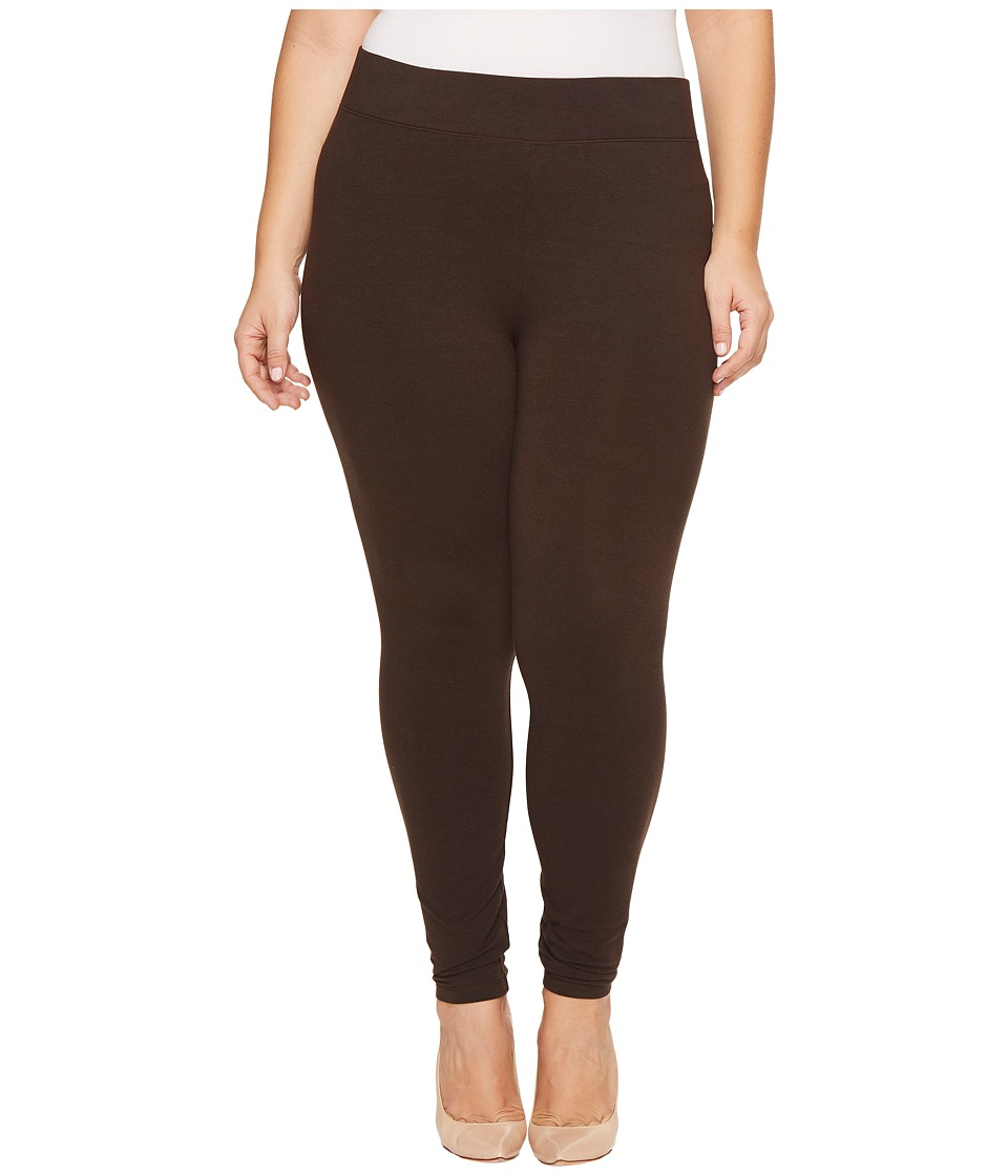 HUE Plus Size Ultra Leggings with Wide Waistband (Espresso) Women