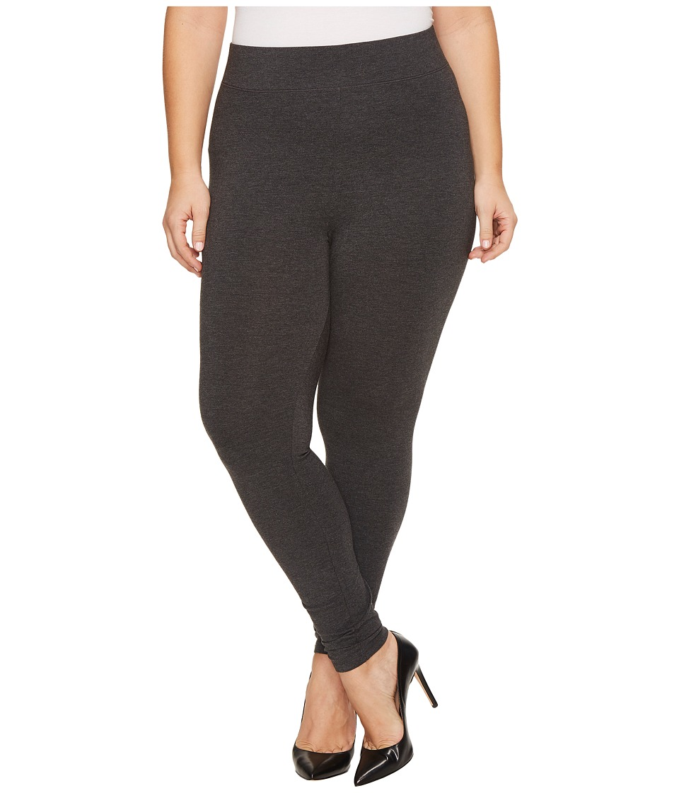 HUE Plus Size Ultra Leggings with Wide Waistband (Graphite Heather) Women