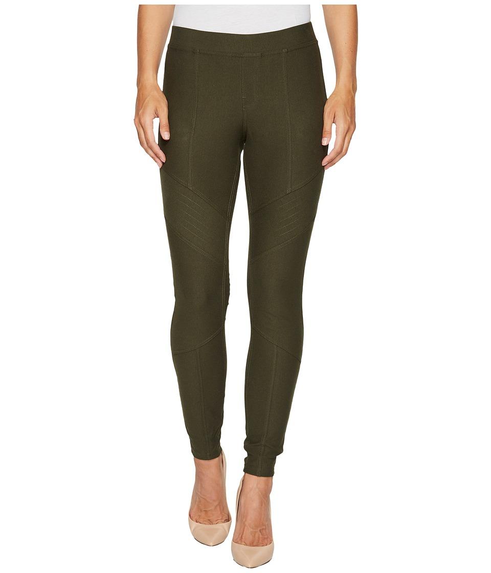 HUE Moto Essential Denim Leggings (Shadow Olive) Women