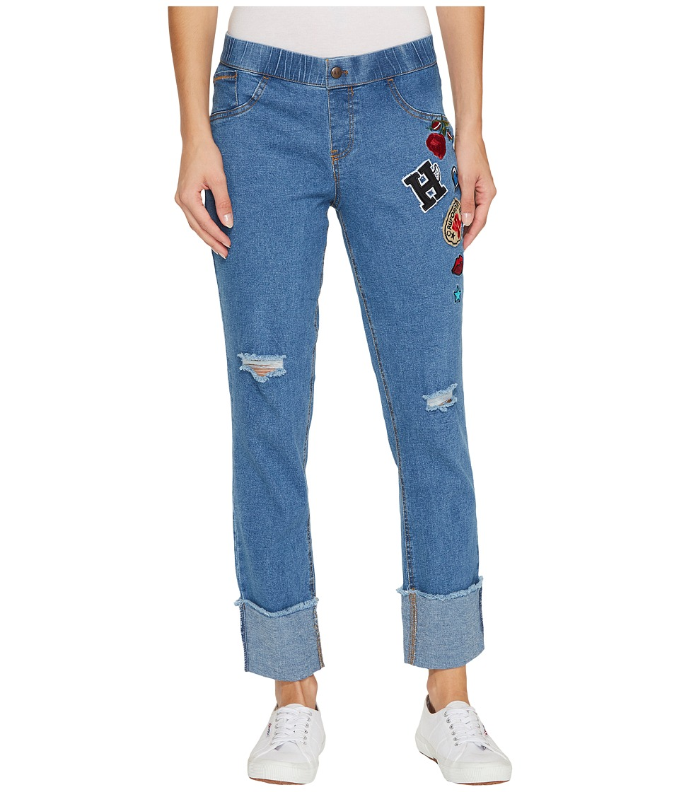 HUE Patched Ripped Cuffed Denim Skimmer (Stonewash) Women
