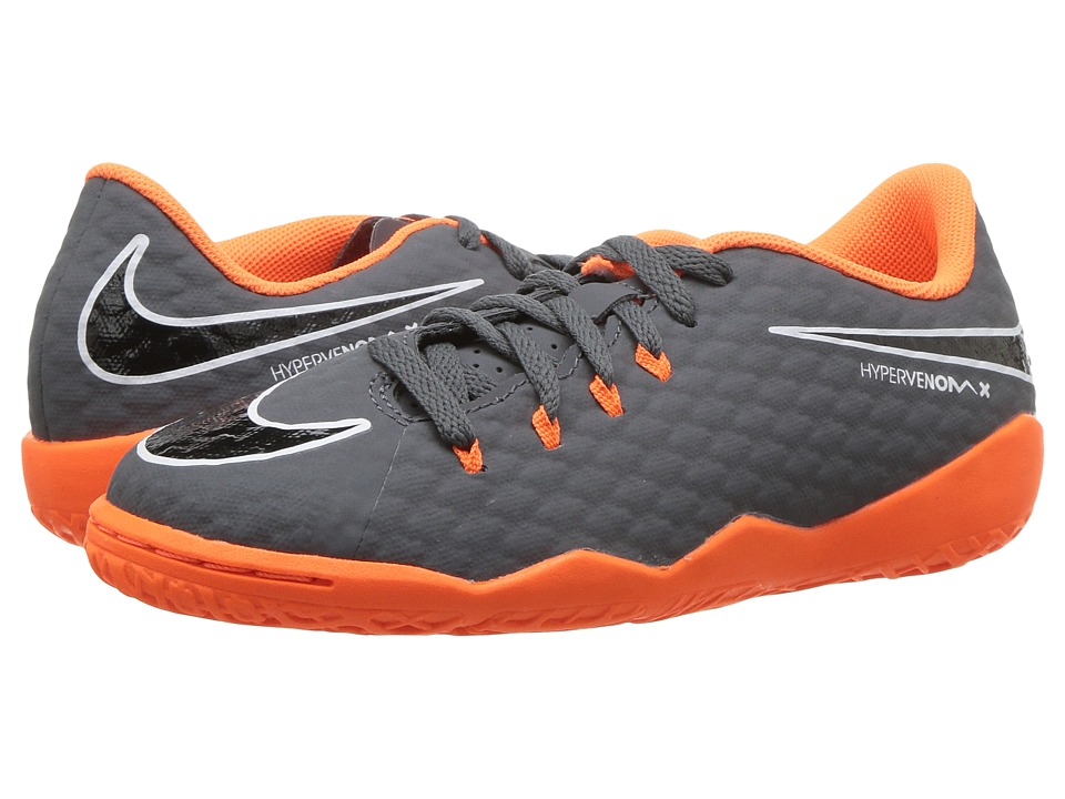 Nike Kids Jr. Hypervenom PhantomX 3 Academy Dynamic Fit IC Soccer (Toddler/Little Kid/Big Kid) (Dark Grey/Total Orange/White) Kids Shoes