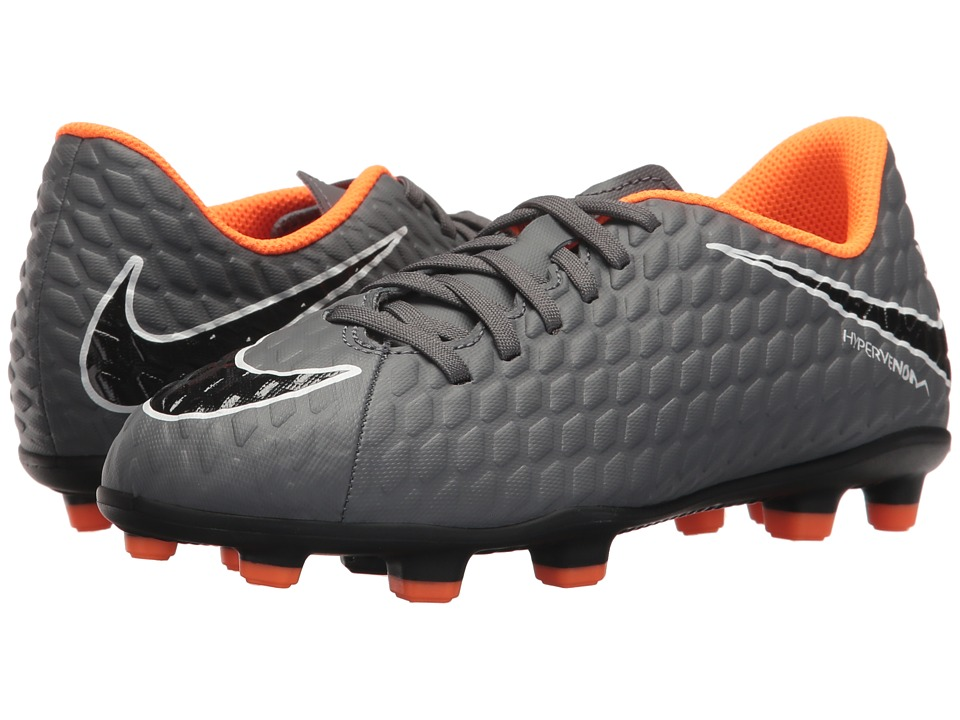 Nike Kids Jr. Hypervenom Phantom 3 Club FG Soccer (Toddler/Little Kid/Big Kid) (Dark Grey/Total Orange/White) Kids Shoes