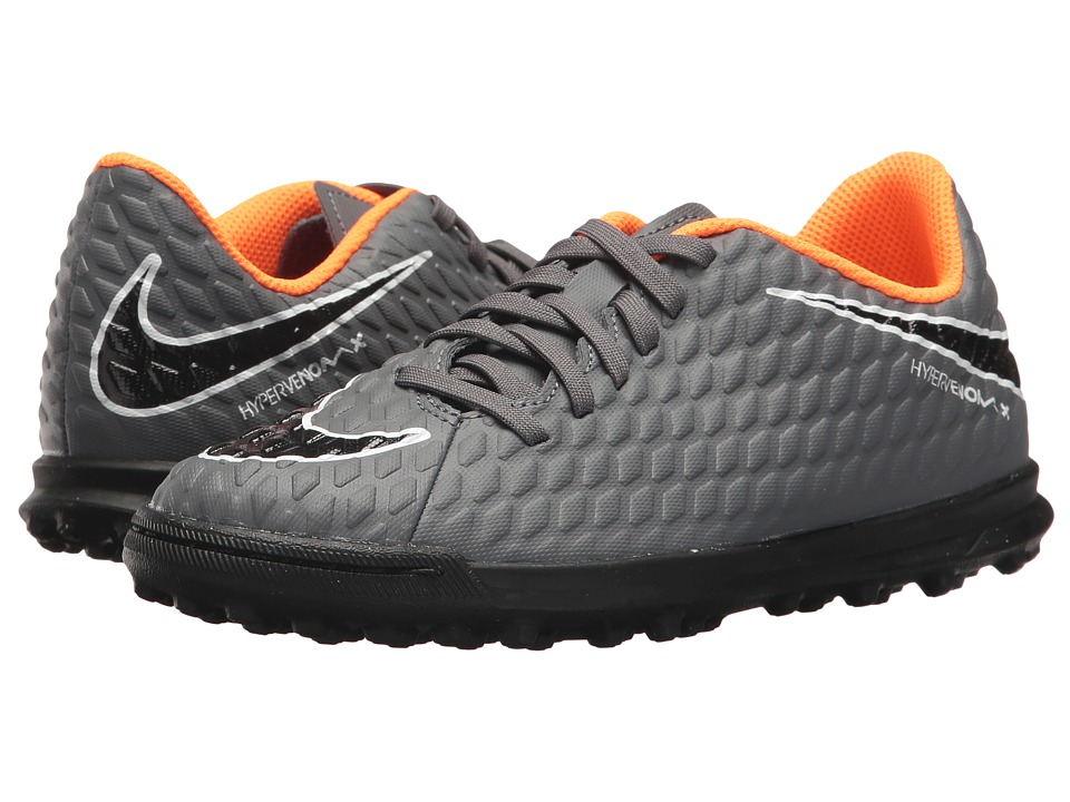 Nike Kids Jr. Hypervenom Phantom 3 Club TF Soccer (Toddler/Little Kid/Big Kid) (Dark Grey/Total Orange/White) Kids Shoes