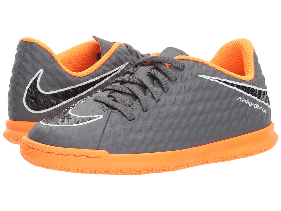Nike Kids Jr. Hypervenom Phantom 3 Club IC Soccer (Toddler/Little Kid/Big Kid) (Dark Grey/Total Orange/White) Kids Shoes
