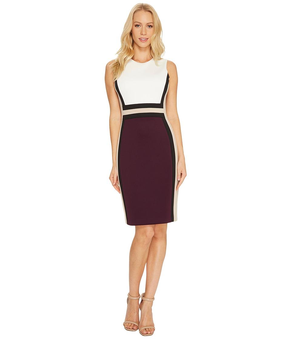 Calvin Klein Color Block Scuba Sheath Dress CD7M1V5K (Winter White/Black/Aubergine/Khaki) Women