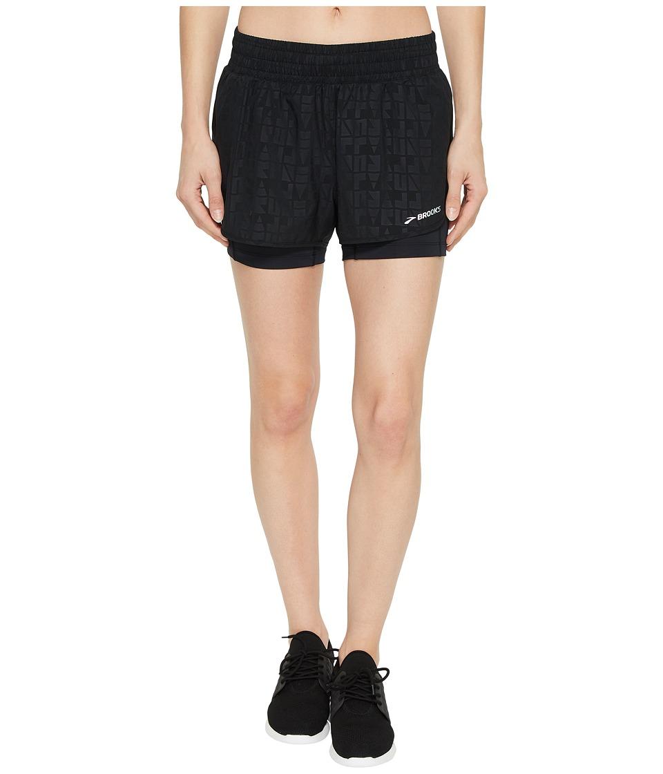 Brooks - Circuit 3 2-in-1 Shorts (Black Embossed/Black) Womens Shorts
