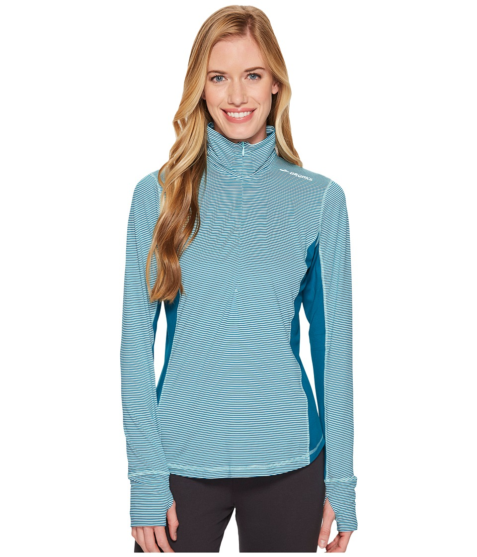Brooks - Dash 1/2 Zip (Pool/Ocean Stripe/Ocean) Womens Long Sleeve Pullover