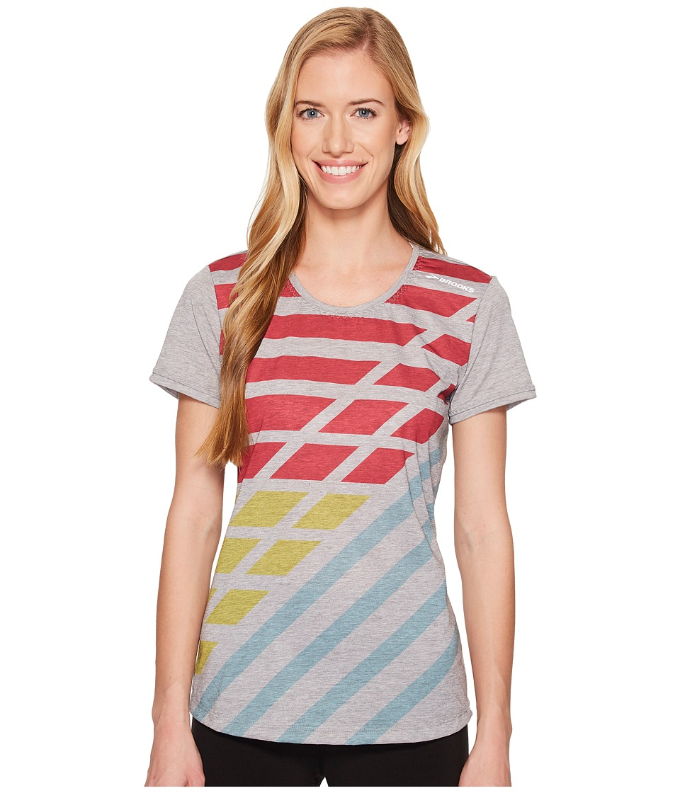 Brooks - Distance Short Sleeve (Heather Sterling/Multi Track) Womens Workout