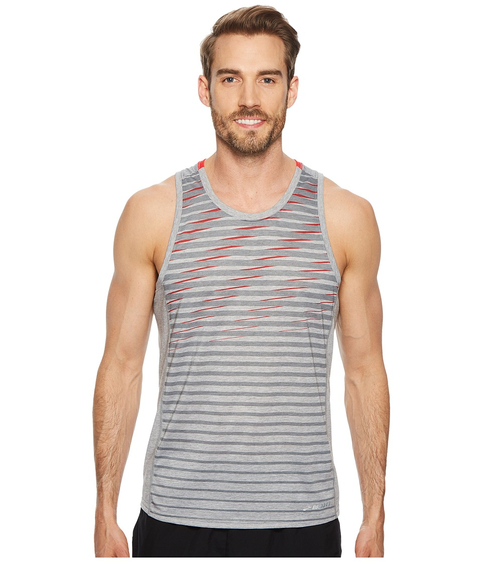 Brooks Distance Tank Top (Heather Sterling/Blaze/Blaze Current) Men