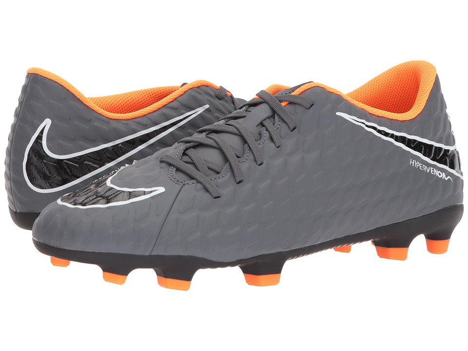 Nike - Hypervenom Phantom 3 Club FG (Dark Grey/Total Orange/White) Mens Soccer Shoes
