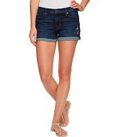 Hudson - Asha Mid-Rise Floral Embroidered Cuffed Shorts in Patrol Unit
