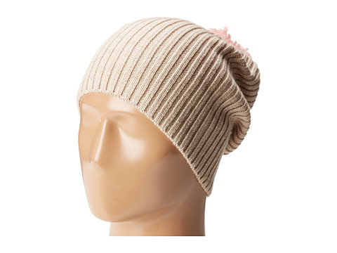Hat Attack Lightweight Rib Watch Cap with Knit Pom - Oat/Light Pink
