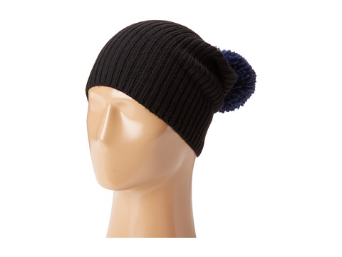 Hat Attack Lightweight Rib Watch Cap with Knit Pom - Black/Navy