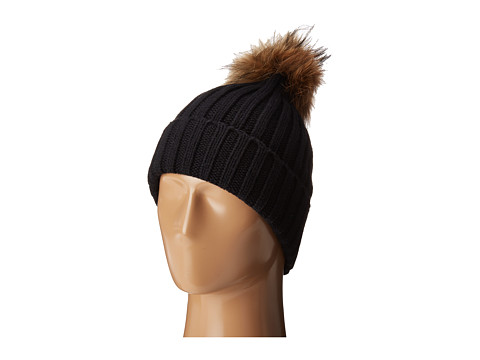 Hat Attack Chunky Rib Beanie with Snap-Off Faux Pom and Extra Hangoff - Black