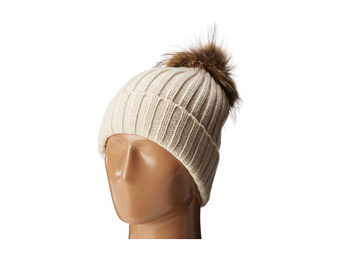 Hat Attack Chunky Rib Beanie with Snap-Off Faux Pom and Extra Hangoff - Ivory