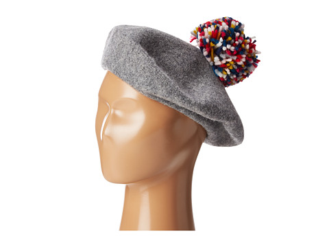 Hat Attack Wool Beret with Multi Confetti Pom - Light Grey/Confetti