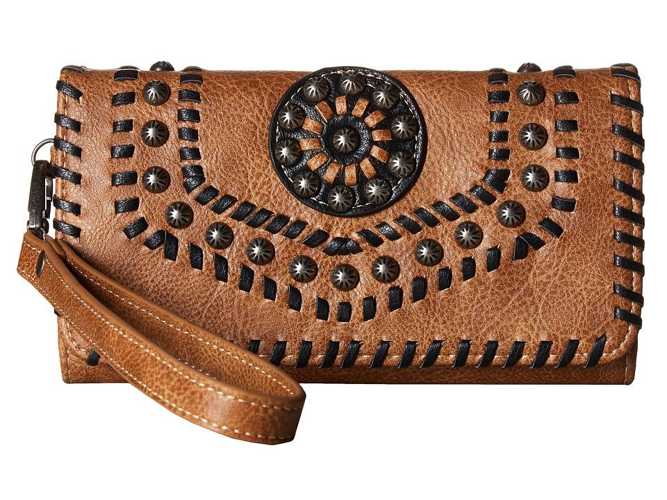 M&F Western - Vanessa Clutch (Brown) Clutch Handbags