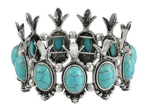 M&F Western Squash Blossom Stretch Bracelet - Turquoise