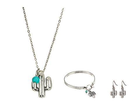 M&F Western Three-Piece Cactus Jewelry Set - Silver
