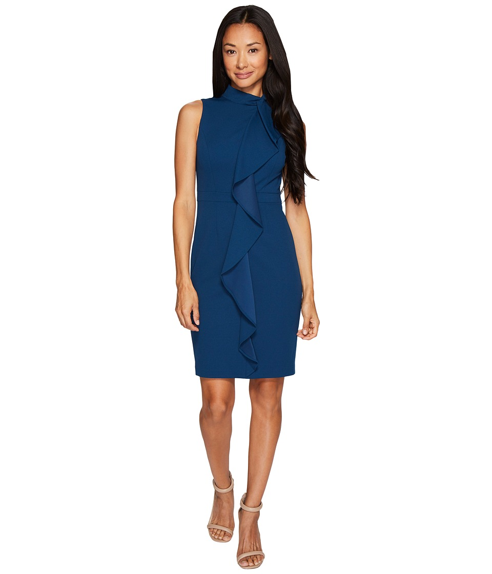 Adrianna Papell Petite Knit Crepe Mock Neck Sheath Dress (Evening Sky) Women