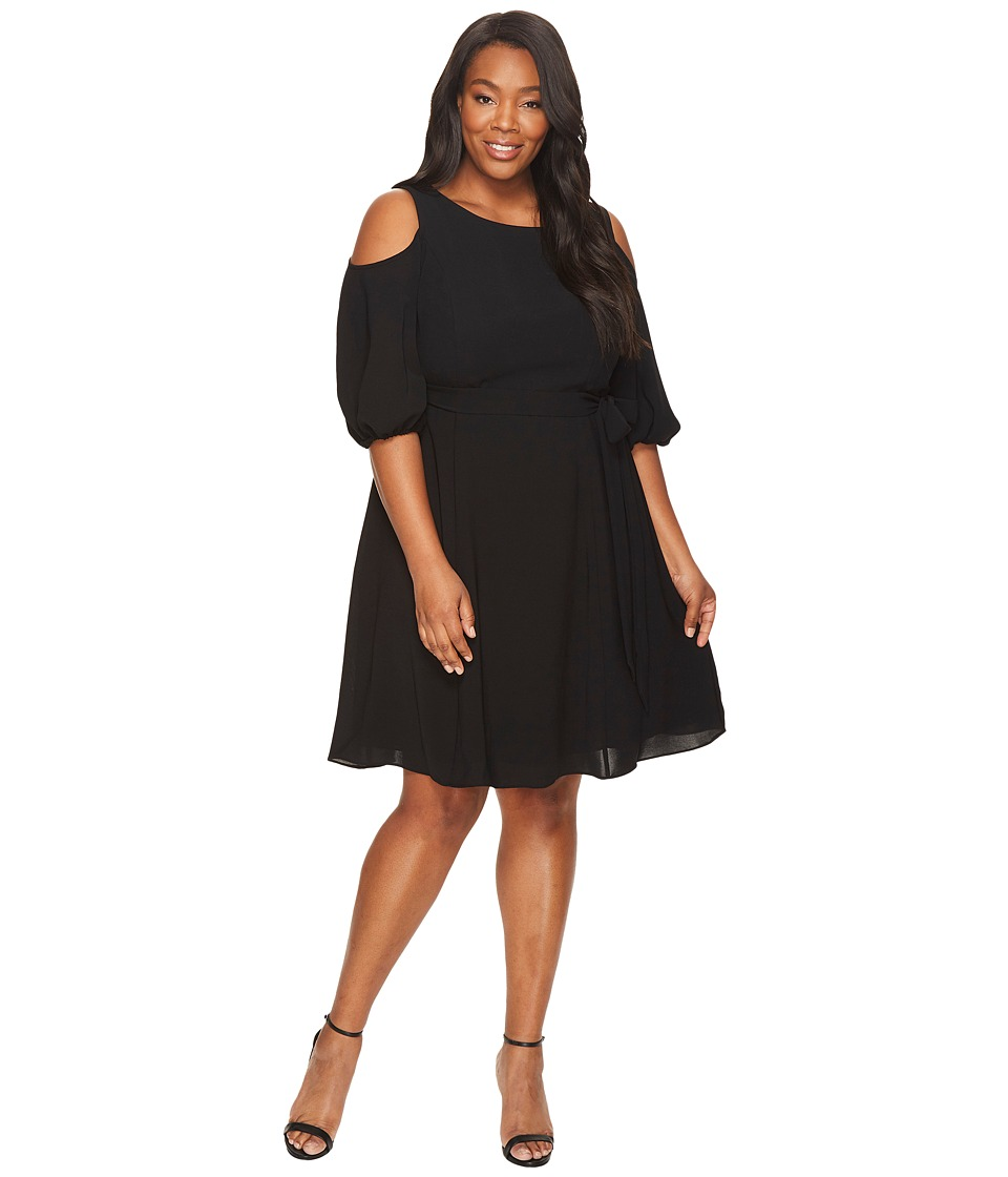 Adrianna Papell Plus Size Gauzy Crepe Cold Shoulder Dress (Black) Women