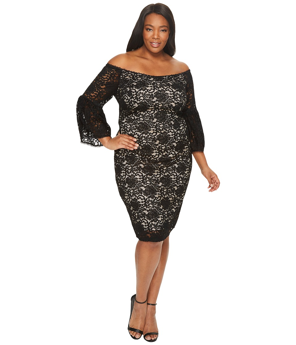 Adrianna Papell Plus Size Juliet Lace Off the Shoulder Sheath Dress (Black/Bisque) Women