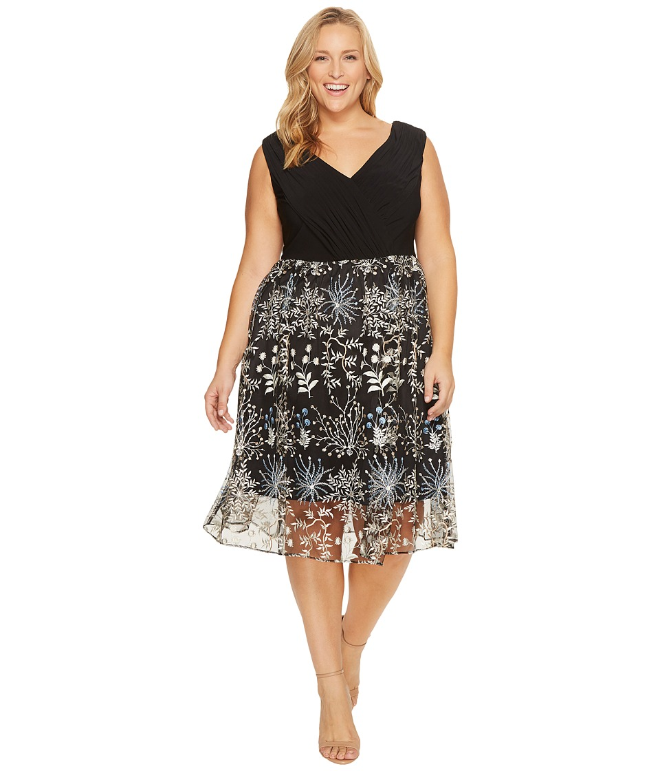 Adrianna Papell Adrianna Papell - Plus Size Etheral Embroidery Fit and Flare Dress
