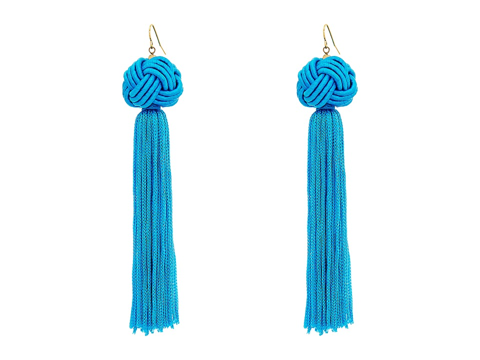 Vanessa Mooney - Astrid Knotted Tassel Earrings (Turquoise) Earring