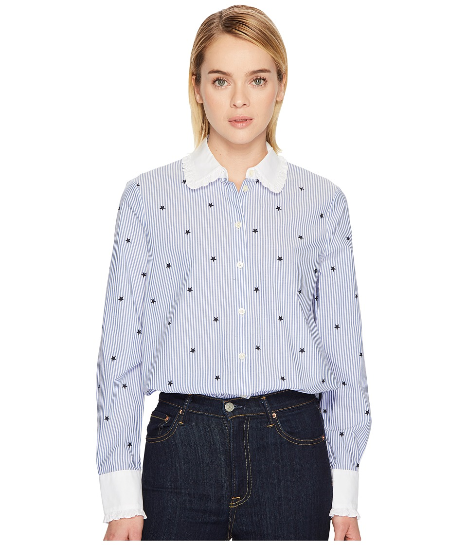 1920s Style Blouses, Shirts, Sweaters, Cardigans Kate Spade New York - Twinkle Stripe Poplin Shirt (BlueFresh White) Womens T Shirt $84.48 AT vintagedancer.com