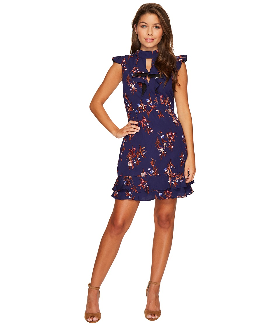 Adelyn Rae Phoebe Ruffle Sheath Dress (Midnight/Rust) Women