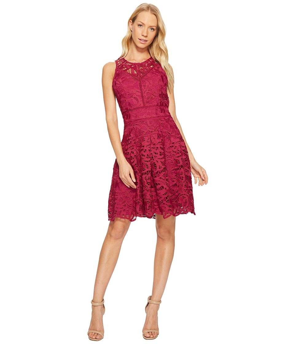 Adelyn Rae Dylan Fit and Flare Dress (Magenta) Women