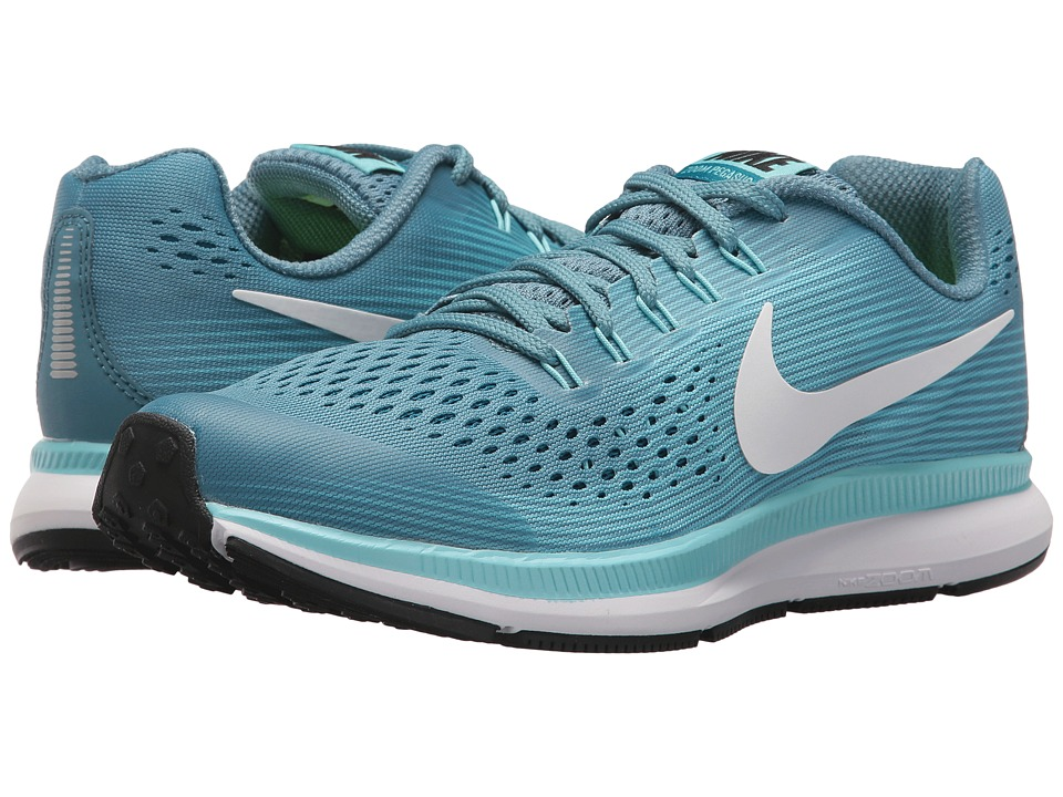 Nike Kids Zoom Pegasus 34 (Little Kid/Big Kid) (Noise Aqua/White/Bleached Aqua) Girls Shoes