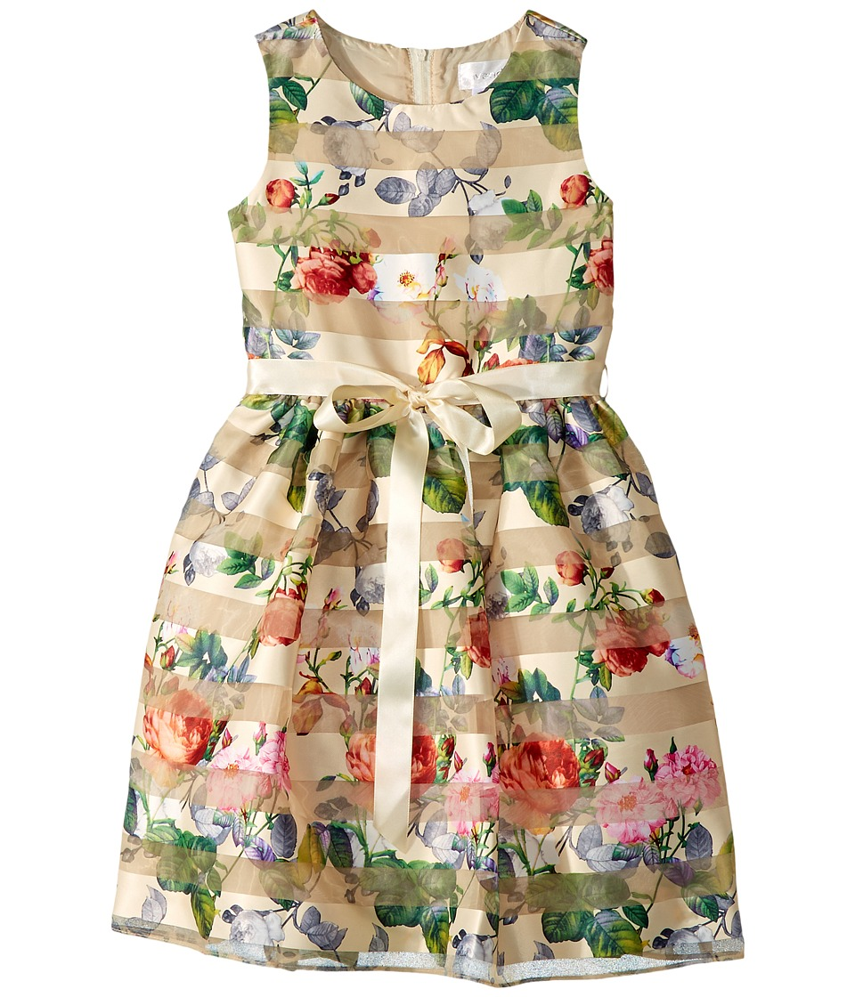 Us Angels - Sleeveless Organza Striped Floral Dress with Full Skirt