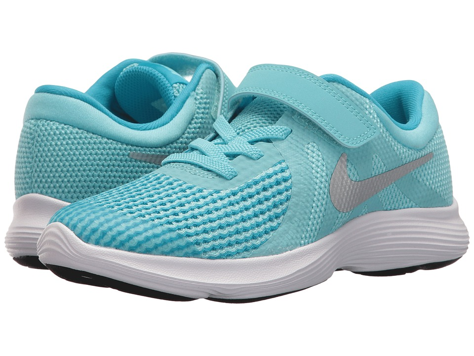Nike Kids Revolution 4 (Little Kid) (Bleached Aqua/Metallic Silver) Girls Shoes