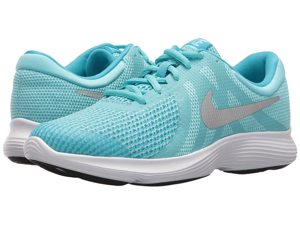 Nike Kids Revolution 4 (Big Kid) (Bleached Aqua/Metallic Silver) Girls Shoes